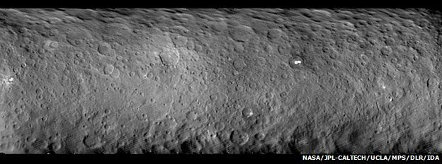 The surface of Ceres is covered with craters of many shapes and sizes
