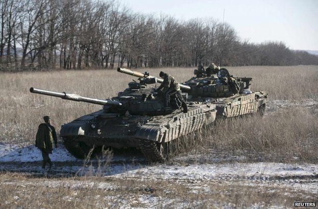 Pro-rebel tanks in Ukraine's Donetsk region, 18 February
