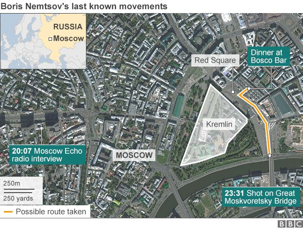 Boris Nemtsov's last known movements