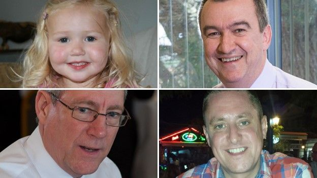 Clockwise from left: Mitzi Steady, Phil Allen, Stephen Vaughan and Robert Parker were all killed in the crash, on 9 February