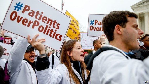 University of Maryland medical student Sarah Britz, centre, and others, rally outside the Supreme Court in Washington 4 March 2015