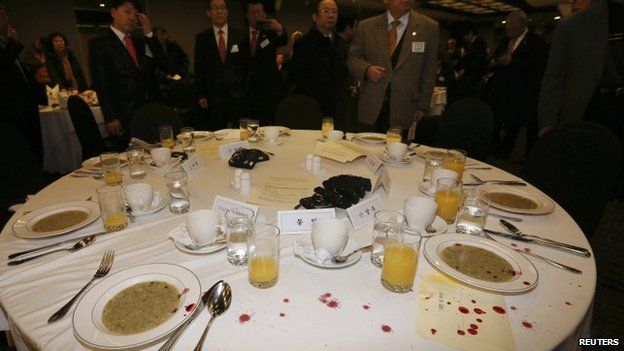 Blood stains on the table in Seoul, 5 March