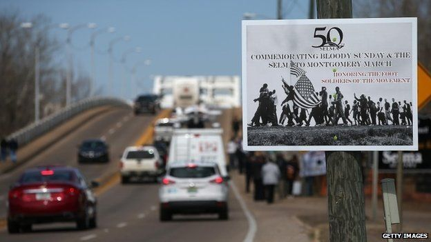A sign advertising the 50th anniversary of the march from Selma to Montgomery - 6 March 2015