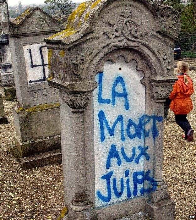 A desecrated cemetery in Brumath, France