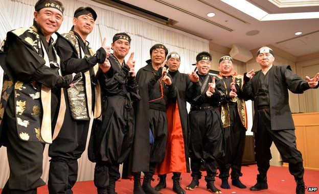 The Ninja Council members in their ninja outfits