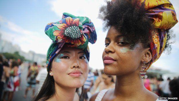 Marchers in Rio de Janeiro celebrating international woman's day 9 March 2015