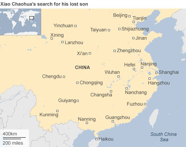 Map showing locations where Xiao's search
