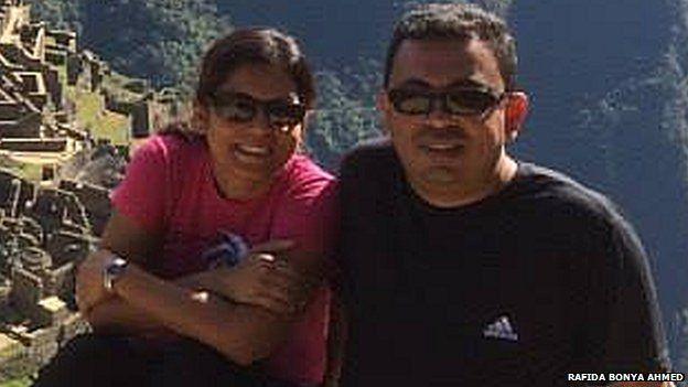 Rafida Bonya Ahmed and her husband Avijit Roy on holiday