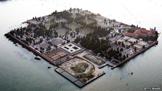 The cemetery island of San Michele, in the Venice lagoon