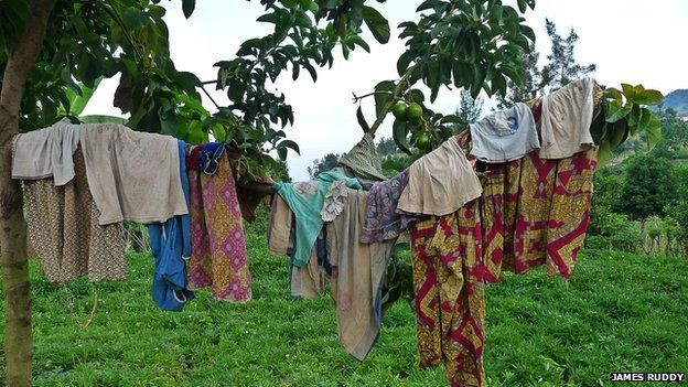 Clothes on a line at the Noel Orphanage in Rwanda