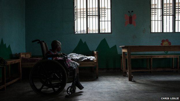 A child in a wheelchair at Noel Orphanage in Rwanda