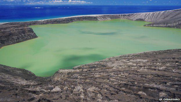 A green toxic lake at the Hunga Tonga volcano - March 2015