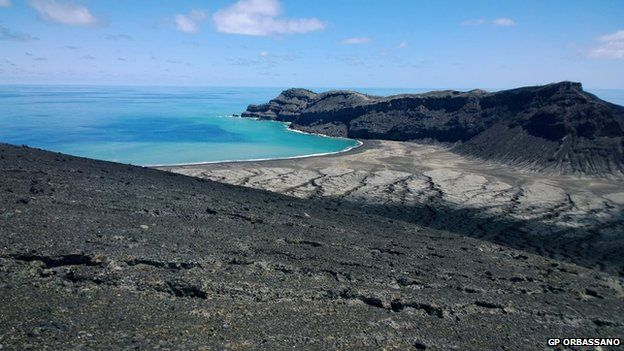 A new volcanic island rising from the Pacific Ocean - March 2015.