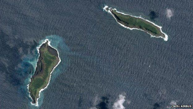 Two islands of Hunga Tonga by satellite