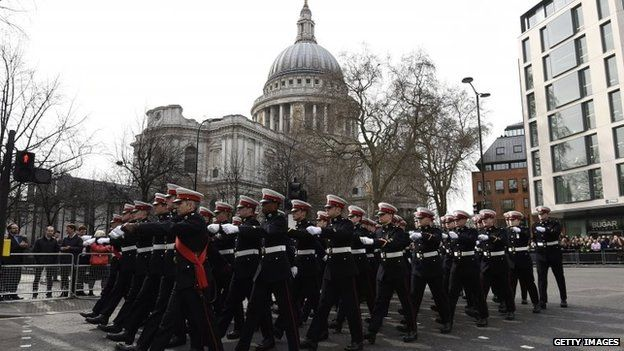 Royal Marines marching near St Paul's Cathedral