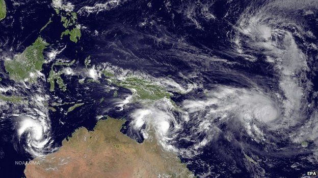 From left to right: Cyclone Olwyn in the Indian Ocean, Cyclone Nathan north-east of Queensland, Australia, and Cyclone Pam near Vanuatu - 11 March 2015
