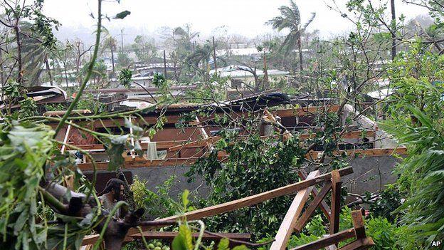 Storm damage in Port Vila, Vanuatu. 14 March 2015