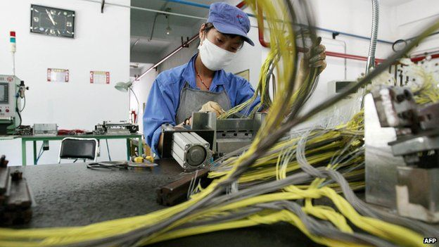 A woman works in a civil explosives factory in Huaibei, east China's Anhui province.