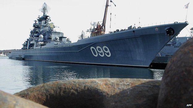 Russian warship Pyotr Veliky in Severomorsk - file pic