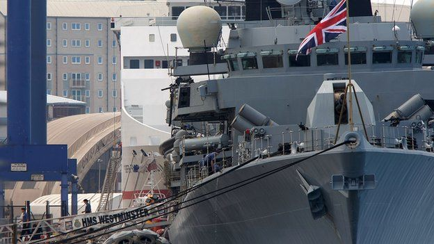 The Royal Navy frigate HMS Westminster docked at Gibraltar military port on 19 August 2013.