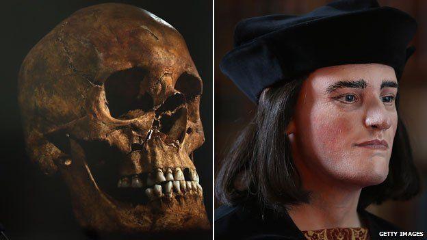 Richard III skull next to facial reconstruction