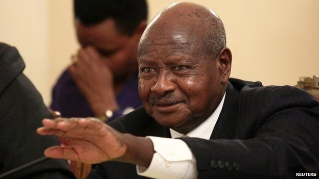 Uganda's President Yoweri Museveni addresses a news conference during his official visit to Ethiopia's capital Addis Ababa, 26 December 2014