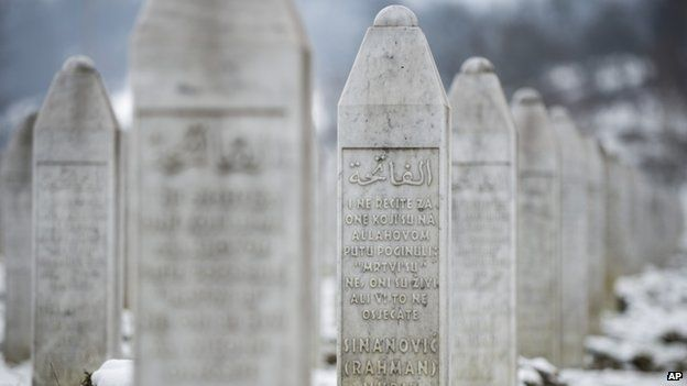 The memorial cemetery of Potocari, outside Srebrenica, 150km north-east of Sarajevo, shows the gravestone of Muriz Sinanovic who was among 8,000 Muslim Bosniak men and boys killed in the July 1995 Srebrenica massacre (March 2015)