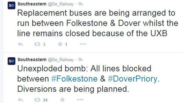 Screen grab of Southeastern tweets
