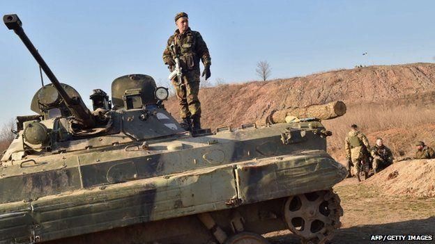 Ukrainian forces on front line near small eastern Ukrainian city of Kurakhove, Donetsk