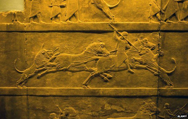 Assyrian relief - hunting lions