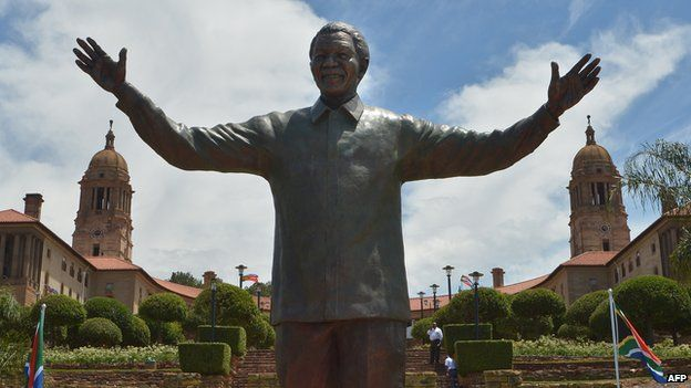 A statue of Nelson Mandela at the Union Buildings in Pretoria, South Africa