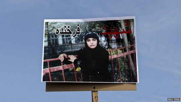 Picture of Farkhunda displayed at her funeral in Kabul, 22 March 2015