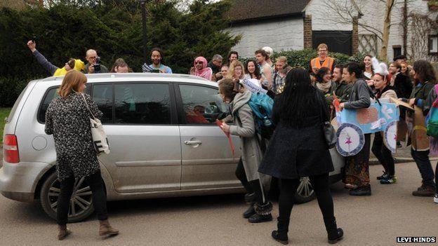 Protesters surround Nigel Farage's car