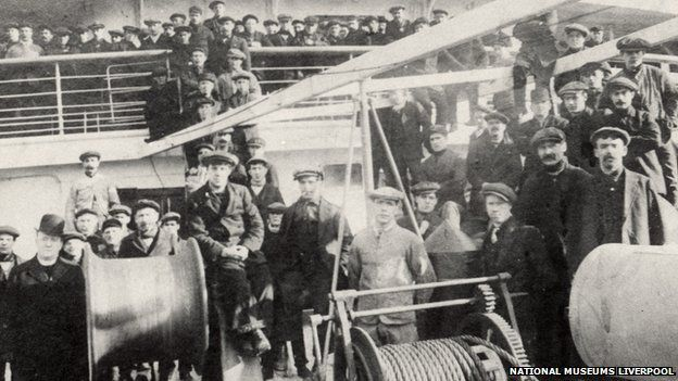Firemen and engine-room staff on the deck of Lusitania
