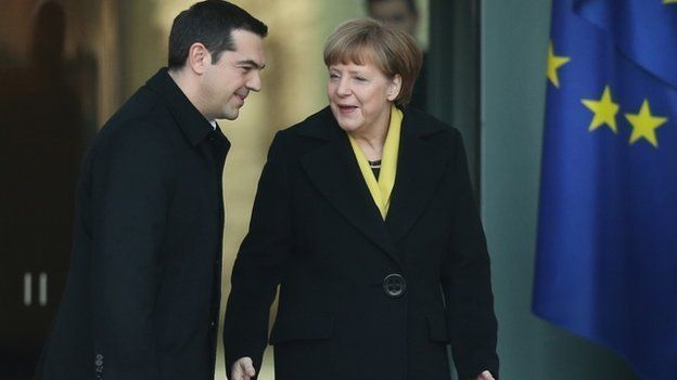 Alexis Tsipras and Angela Merkel at German Chancellery in Berlin, 23 March 2015