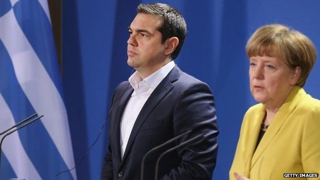 Alexis Tsipras and Angela Merkel at a Berlin press conference, 23 March 2015