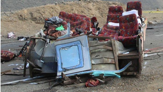Seats in the wreckage of the bus