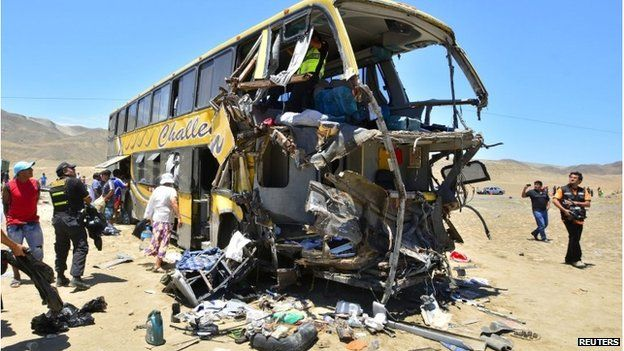 The bus wreckage