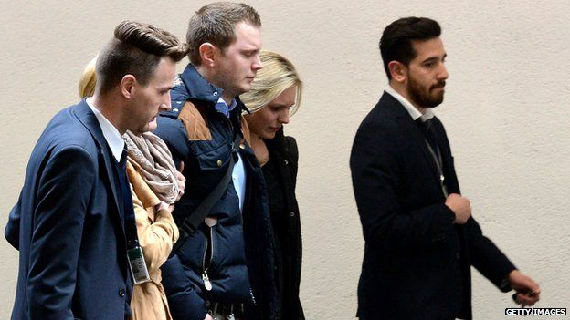 People awaiting news of Flight 4U9525 at Duesseldorf airport