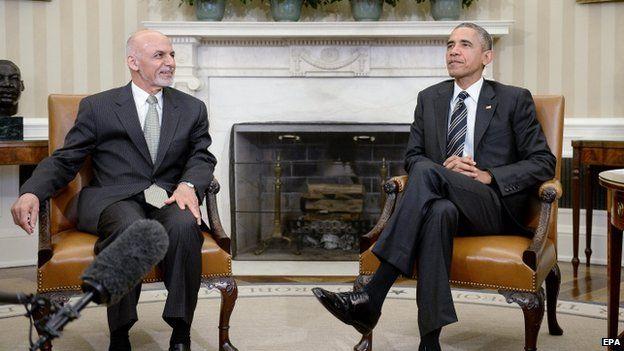 Ashraf Ghani Visit Us To Slow Afghan Troops Withdrawal Bbc News