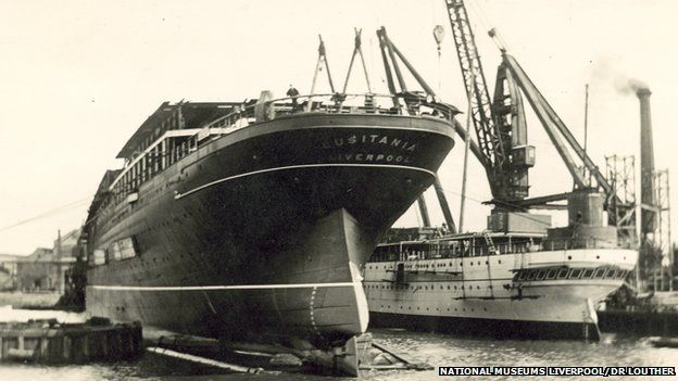 Lusitania under construction on the Clyde