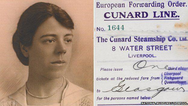 The third-class ticket of British nanny Margaret Ballantyne