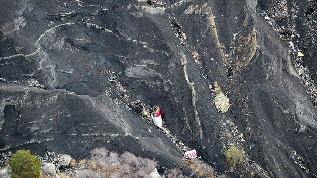 Debris from plane on mountainside. 26 March 2015