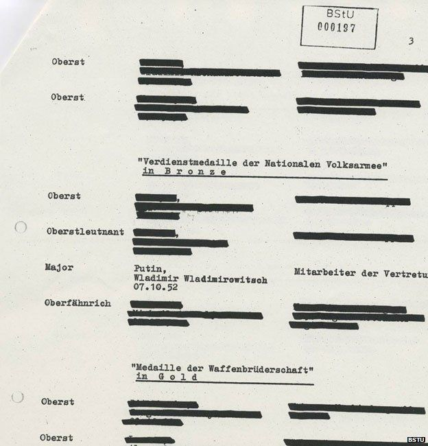 A heavily redacted Stasi document referring to Vladimir Putin