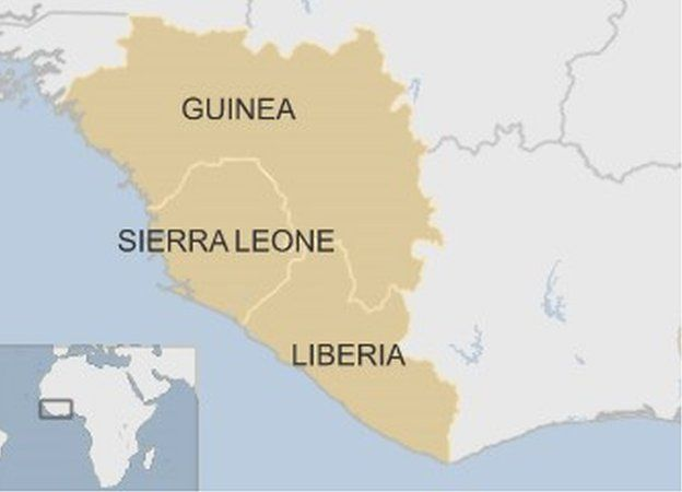 Map showing Guinea, Sierra Leone and Liberia