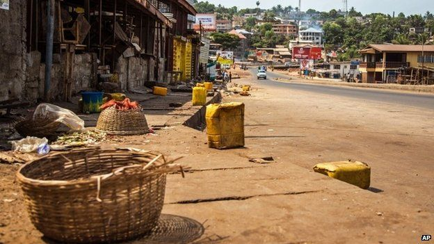 A usually busy street deserted during lockdown in Sierra Leone