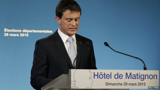 France's Prime Minister Manuel Valls speaks following the close of polls in France's second round Departmental elections