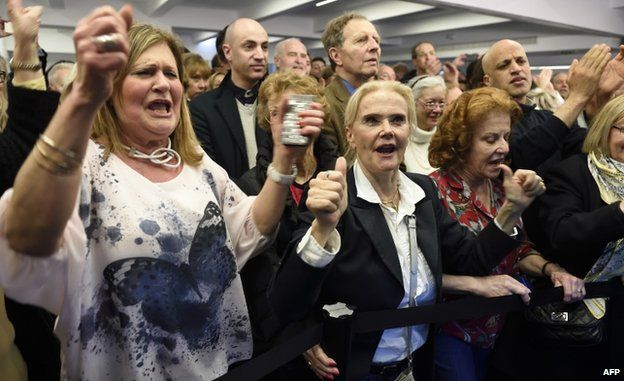 UMP supporters celebrate results of the French local elections, France, 29 March 2015