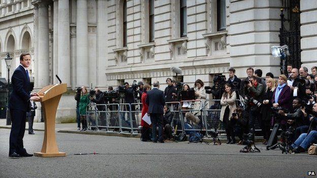 David Cameron speaking outside Downing Street