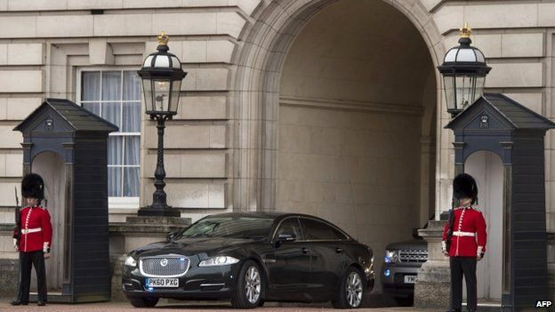 David Cameron leaving Buckingham Palace after his final scheduled audience with the Queen before polling day